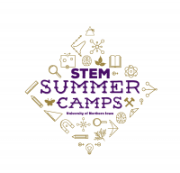 "UNI STEM Camps Logo - line drawings of many different tools and symbols of STEM forming a diamond around ""STEM Camps""."