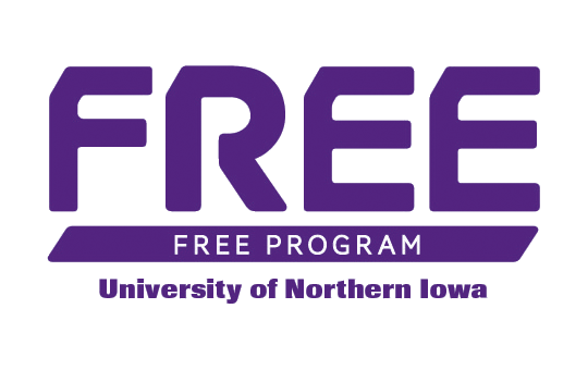 UNI FREE, Fabulous Resources for Energy Education Logo is the word FREE in modern text over University of Northern Iowa