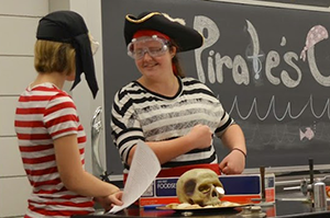 UNI Chemistry Students leading the specialty show - Pirate's Cove - a crew of smart pirates use science to create and protect a treasure.  Photo by Marcy Seavey.