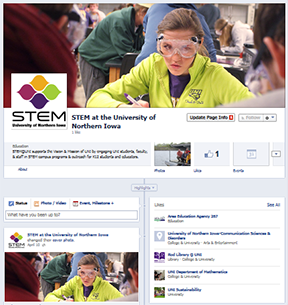 Screenshot of STEM at UNI Facebook page