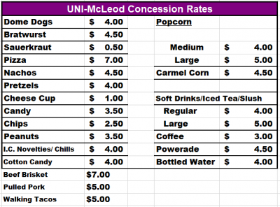 A variety of concessions available from $3.50-$7.00.