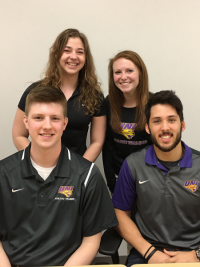 Athletic Training Students Cassandra, Courtney, Eric and Payton (clockwise).