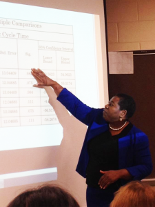 Dr. Hylton presenting her  Doctoral Dissertation Research.