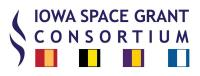 Logo of the Iowa Space Grant Consortium - consortium swish with flags for 4 core institutions including UNI.