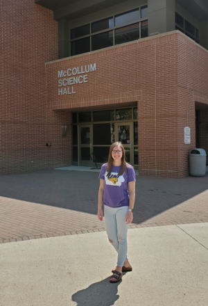 Katie at McCollum Science Hall on the UNI Campus.