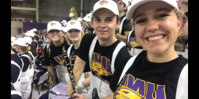 Jaclyn Miller and friends having Fun  in the Panther Marching Band.