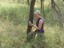 Sarah placing the camera at Kruger National Park, Mpumalanga, South Africa