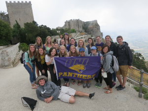 UNI Italy Capstone students show their Panther Pride in the Mediterranean.