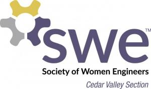 swe - society of women engineers, cedar valley chapter with gold, purple and grey gear logo