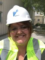 Waterloo East High School Teacher, Rachael Woodley, dons her hard hat at the quarry.