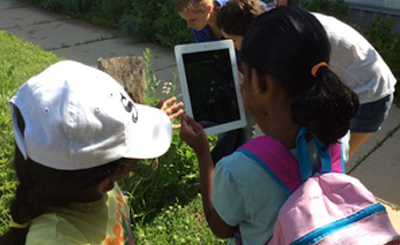 2014 Tallgrass Prairie Campers using ipads to document observations of native prairie plants.