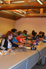 Cookies, Websites, and Games Campers collaborate in Minecraft.
