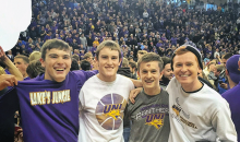 Jake Parks, left, with friends at a UNI Panthers game