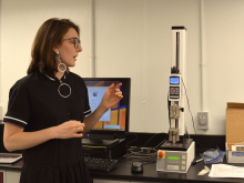 Jordan Caruso demonstrates how she utilizes the MARK-10 for her Undergraduate Research