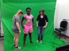 Three Camp Multimedia campers in the green screen room.