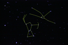 Image from the UNI Planetarium Show illustrating how the software outlines constellations (here Orion and Taurus) and other sky features.