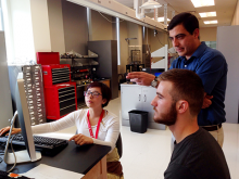 Dr. Pavel Lukashev, center, Juliana Herran, left, and Ibro Tutic in the MRSEC lab.