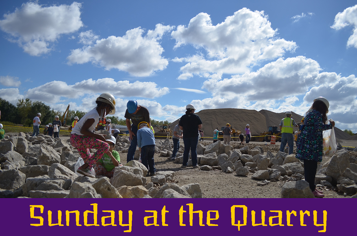 Sunday at the Quarry - an image of families collecting rocks and fossils on a bright and sunny day during the 2016 Sunday at the Quarry event.